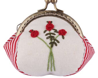 Handmade Coin Purse 8.5CM Rose Needlework Red Stripe