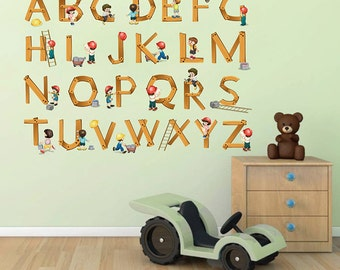 Alphabet Wall Decals Childrens Builders Alphabet Wall Decals Letters Wall  Decals Kcik106