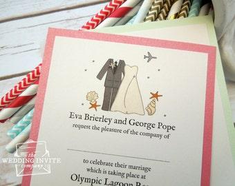 Beach Bride and Groom Postcard Wedding/Evening Invitations