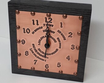 Copper Engraved 7th Anniversary Clock ***** IN STOCK*****   7 Year Copper Anniversary Gift for Husband or Wife