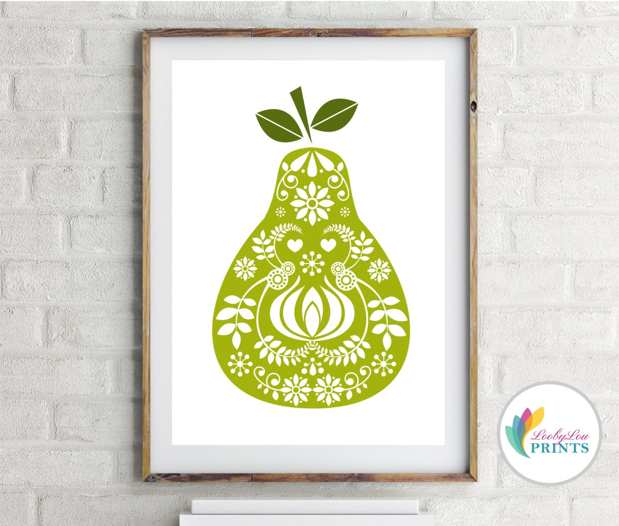 Pear Print Scandinavian Design Pear Mid-Century Design