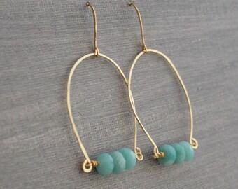 Gold Hoop Earrings - Amazonite Earrings - Boho Earrings - Blue Hoop Earrings - Beaded Hoop Earrings - Bent Wire Earrings - Robins Egg Blue