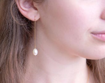 Freshwater Pearl Drop Threader Earrings, 14k Gold Filled, Bridesmaid Pearl Earrings, Long Pearl Earrings, Pearl Dangle, Gift for Girlfriend