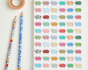 Large Flock of Colourful Sheep Pattern Notebook