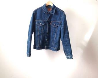 LEVIS bleu indigo vintage des années 80 qui se boutonne veste DENIM en manteau doublé de flanelle usa