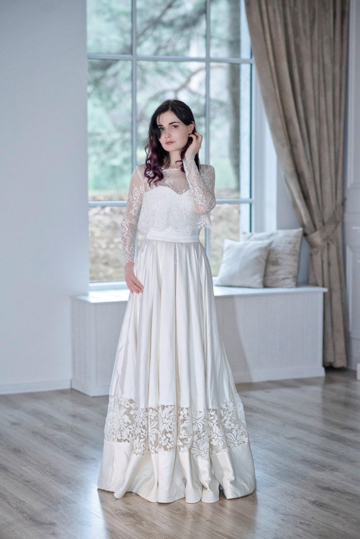 READY TO SHIP: satin bridal skirt / satin wedding skirt / lace panel ...
