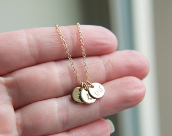 Tiny Gold Initial Charm Necklace, 2, 3, 4 Gold Initial Disc Necklace, Dainty Delicate Jewelry, 14K Gold-Filled Jewelry, layering