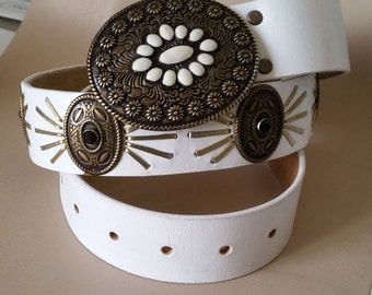 """WHITE LEATHER & BRASS Concho Belt 35 to 38""""  Brass Buckle with Enamel Inlay. Faceted Crystal Studs. Cowgirl-Steampunk-Rodeo-Western"""