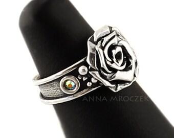 Pinky ring, Adjustable size ring,  Fairy ring, Engagement Swarovski ring, Swarovski AB crystals, rose flower ring, sterling silver ring,midi