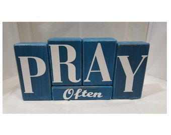 Pray Often Antiqued Turquoise Wood Block Set