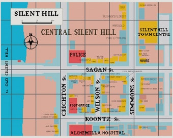 Map of Central Silent Hill Cross Stitch Pattern