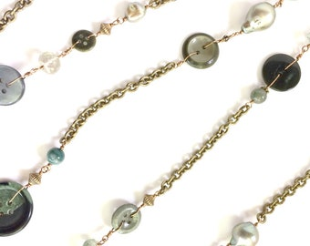 Triple Wrap Button Necklace: Olive and Moss-Green Buttons with Freshwater Pearls on Bronze Chain