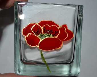 painted jar candle, cotton, glass cube, poppy red and gold painted candle holder, decorative bathroom, poppy, painting on glass opaleisis