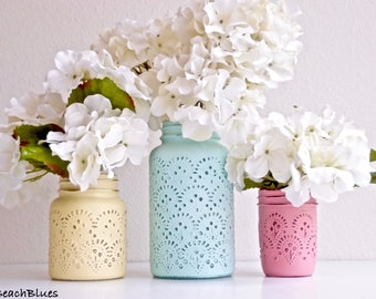 Kitchen Canister / 1 Large Quart Jar / rustic home decor / gift for her / mother's day / embossed jar / painted mason jar / shabby chic