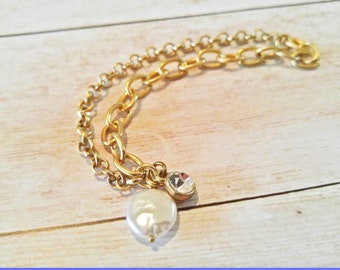 Gold Chain Findings Rolo Chain Cable Chain Freshwater Pearl Dangle Rhinestone Charm Gold Findings Bracelet Findings