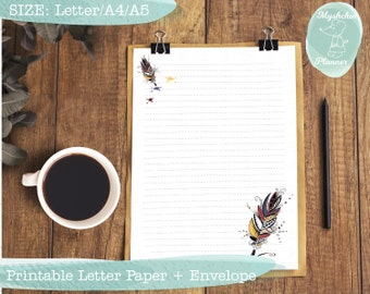 Printable writing paper Printable letter paper Printable envelope Printable stationary Instant download Letter paper with colorful feather