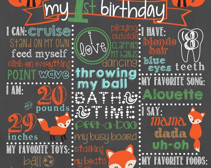 Woodland Birthday Chalkboard / Fox First Birthday Chalkboard / Foxes First Birthday Chalkboard / Forest Birthday / Foxes  /Digital File Only