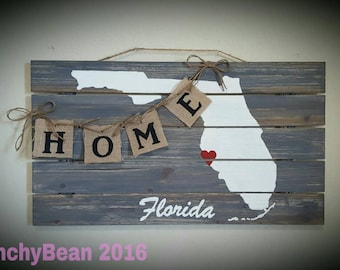 Florida state State wall decor  Home wall hanging Rustic wall art Custom state wall hanging Country decor Wood slat. Florida Home State Home