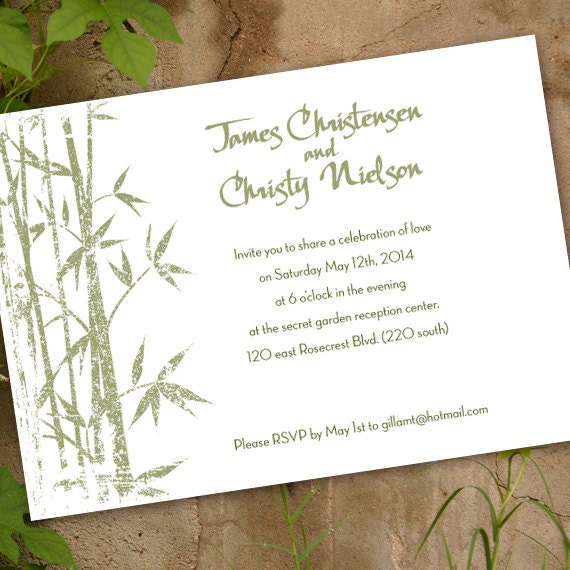 wedding invitations, Asian wedding invitations, sage and white wedding, bamboo party invitation, sage bamboo shower, sage green bride, IN294