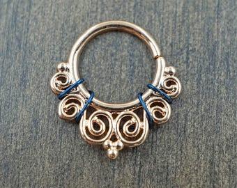 Ornate Rose Gold Septum Ring Rose Gold Daith Piercing Rook Earring Hoop