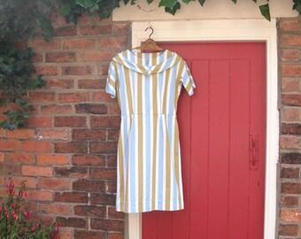 1950s striped day dress   50s vertical stripe dress   vintage mid century wiggle dress   Sundae Girl dress