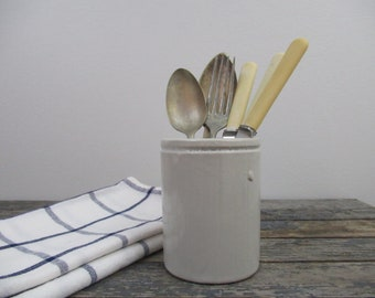 Antique Stoneware Crock, Utensil Holder, Jam Jar, Rustic Kitchen Decor, Wm P Hartleys Jam Crock