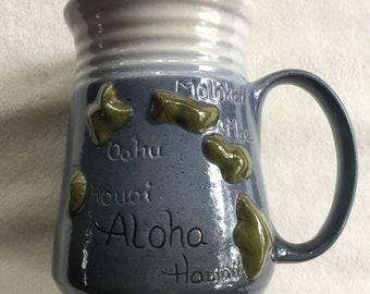 Hawaii Mug,Tropical Mug,Hawaii Cup,Hawaii Pottery Mug,Hawaii Glassware,Hawaii Decor,Hawaii Pottery,Tropical Island Mug,Tropical Glassware
