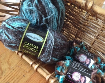 Destash - NEW Sensations Casual Boucle yarn in turquoise and brown, with bonus skeins for trim