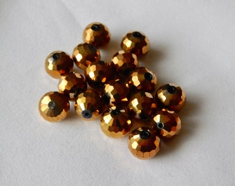 12mm Faceted Bronze Beads