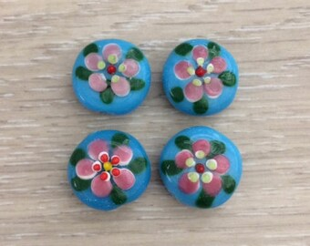 Glass Flower Beads, Handmade Beads, Flower Beads, Turquoise, 4 pcs