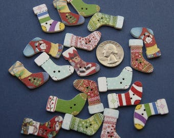 12 Christmas Stocking Buttons, Random, Wood button, 2 hole, Painted Embellishment, Whimsical (xx 8)
