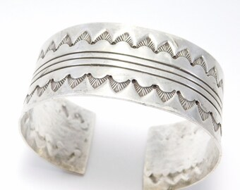 Nice Wide Sterling Southwest Stamped Cuff Bracelet