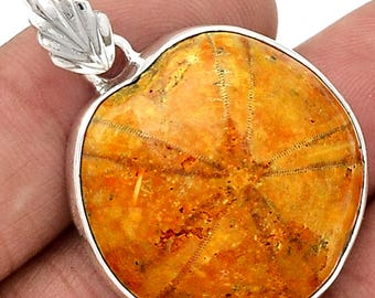 "Fossilized Sand Dollar Pendant. 1 1/2"" Long Pendant in Solid Sterling Silver. 7912"