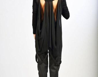 Black loose tunic, black asymmetric top, Asymmetric tunic, Black loose top, Open back shirt, Black loose shirt, Long sleeves blouse, /B0054
