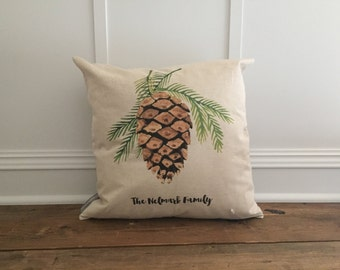 Custom Watercolor Pinecone Pillow Cover