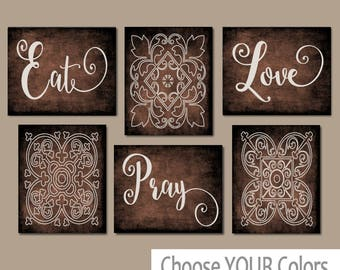 EAT PRAY LOVE Kitchen Wall Art, Kitchen Canvas Or Prints, Dining Room Decor,