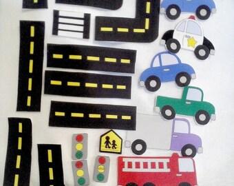 Car felt shapes set  23 pieces felt shapes for flannel boards or felt boards Educational homeschool #3841
