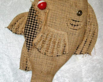 Christmas Stocking Burlap Fish Stocking with Hook - Cotton Check - Different Colors Available