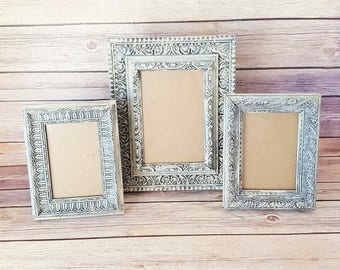 French Country Frames | Set of 3 Vintage Frames | 3 Ornate Picture Frames | Antique White Picture Frames | Vintage Chic Home Decor