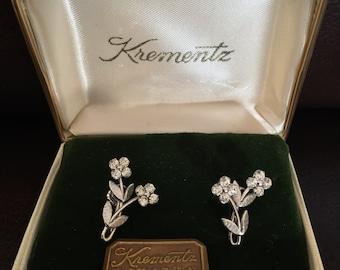 KREMENTZ 14K gold overlay screw back earrings signed never worn VTG mint in original box SALE