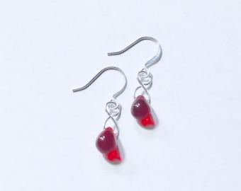 Red Ruby Czech Glass Teardrop Earrings TCJG