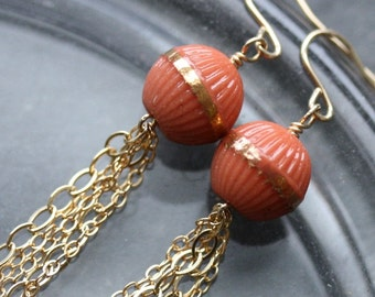 Gold Chain and Coral Beaded Dangle Earrings with Vintage Glass Beads