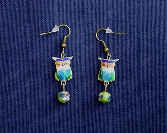 Green cloisonne beads and OWL earrings