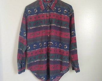 Vintage 1980s Unique Western Shirt with Horses