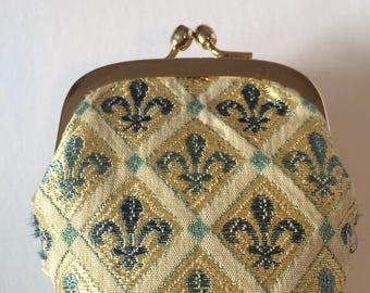 Vintage Fleur de lis Tapestry Coin Purse / Snap Closure Coin Purse / Mini makeup bag / Vintage Wallet / 1990's