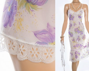 Beautiful 'Adilo' silky soft sheer white purple and green floral design Perlon and white lace detail 60's vintage full slip petticoat - S343