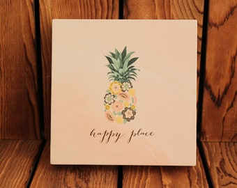 Happy Place,Pineapple,Inspirational Quote,Framed Quotes,Framed Wall Art,Birthday Gift Her,Farmhouse Decor,Wood Signs,Rustic Wood Sign,Signs