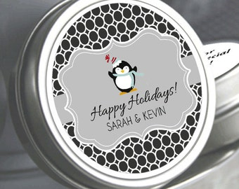 12 Personalized Holiday Penguin Mint Tins Favors - Christmas Favors - Christmas Decor - Christmas Wedding Favors - Stocking Stuffers