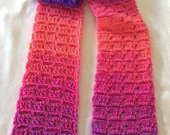 "FREE SHIPPING Crochet Scarf, Crochet Scarf Stripes, 5"" x 60"""