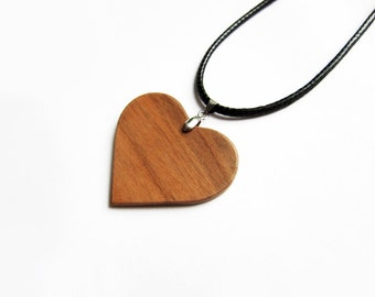 Wooden Heart Necklace, Heart Necklace Wood, Pendant heart, flat heart necklace